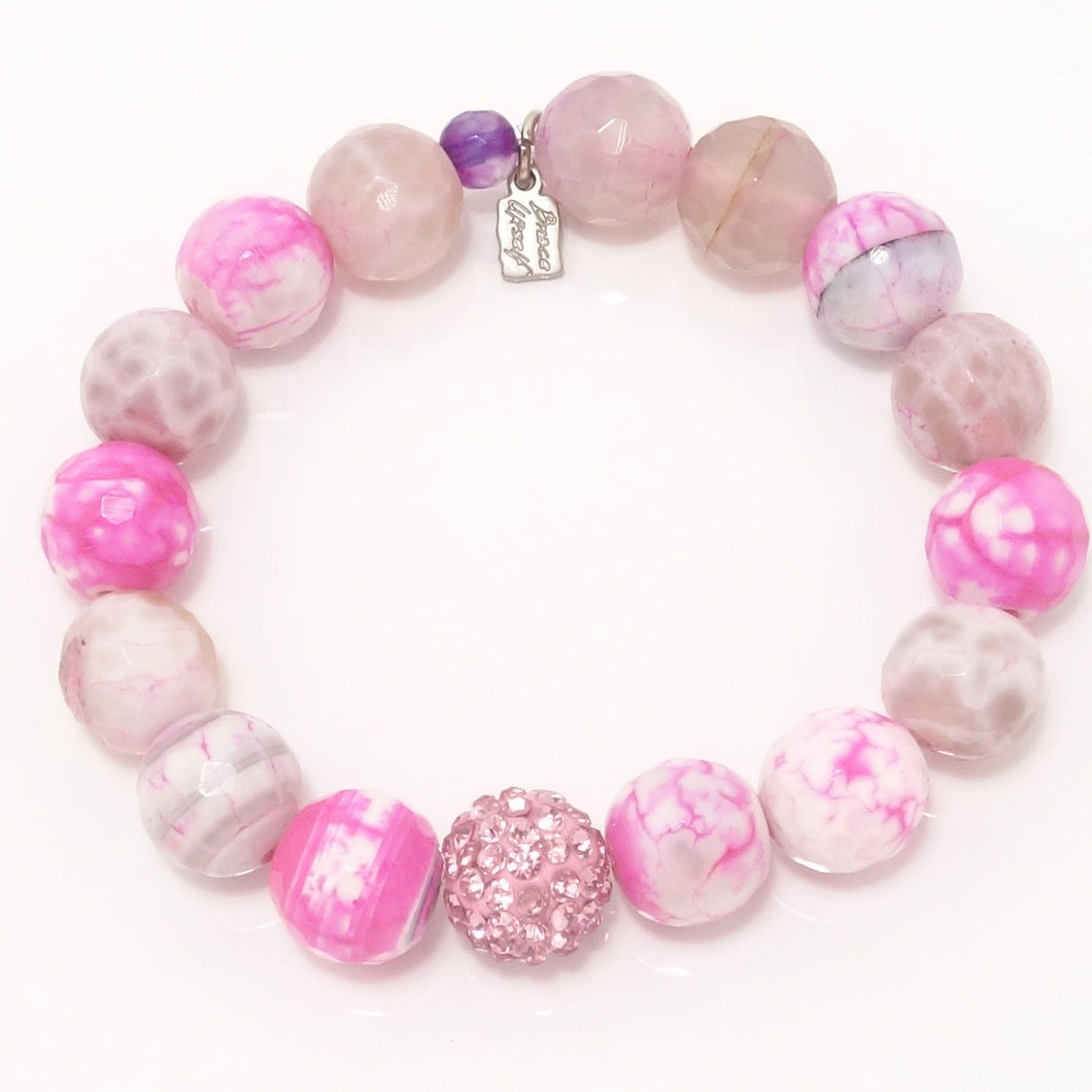 Hot Pink and White Agate/Pink