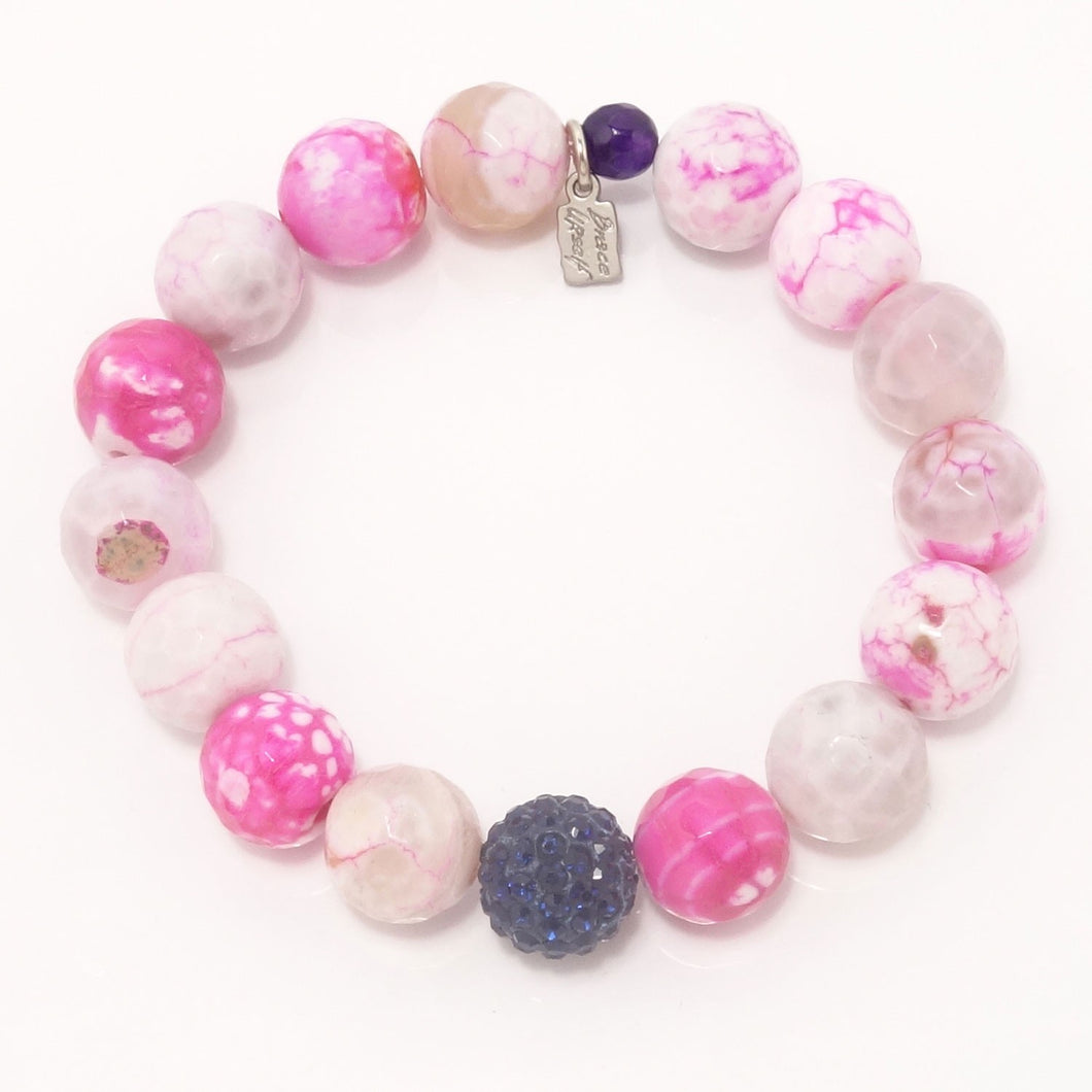 Hot Pink and White Agate/Navy