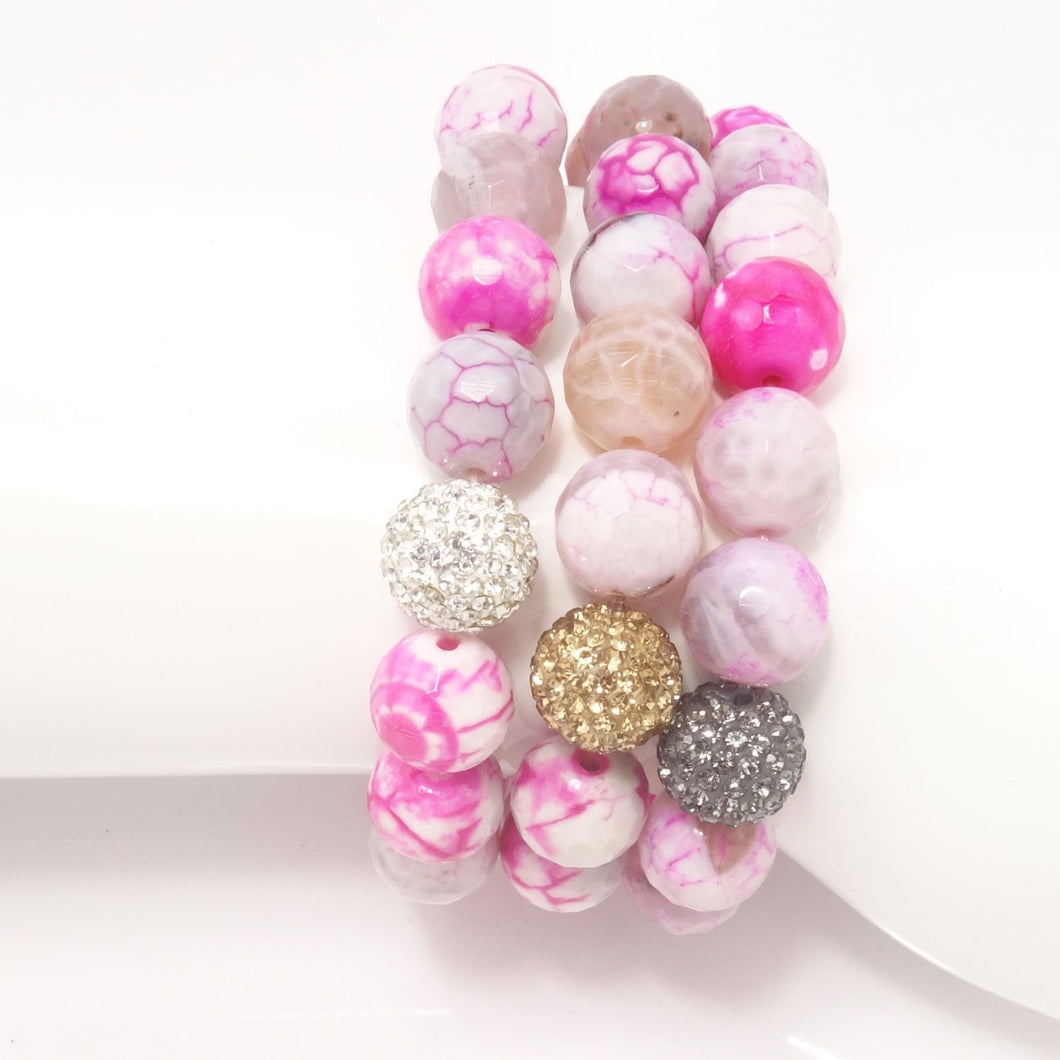 Hot Pink and White Agate/Light Grey/Gold/Silver