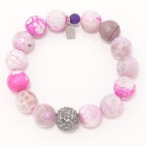 Hot Pink and White Agate/Light Grey