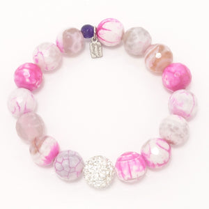 Hot Pink and White Agate/Silver