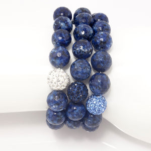 Navy Speckled Agate/Light Blue/Navy/Silver
