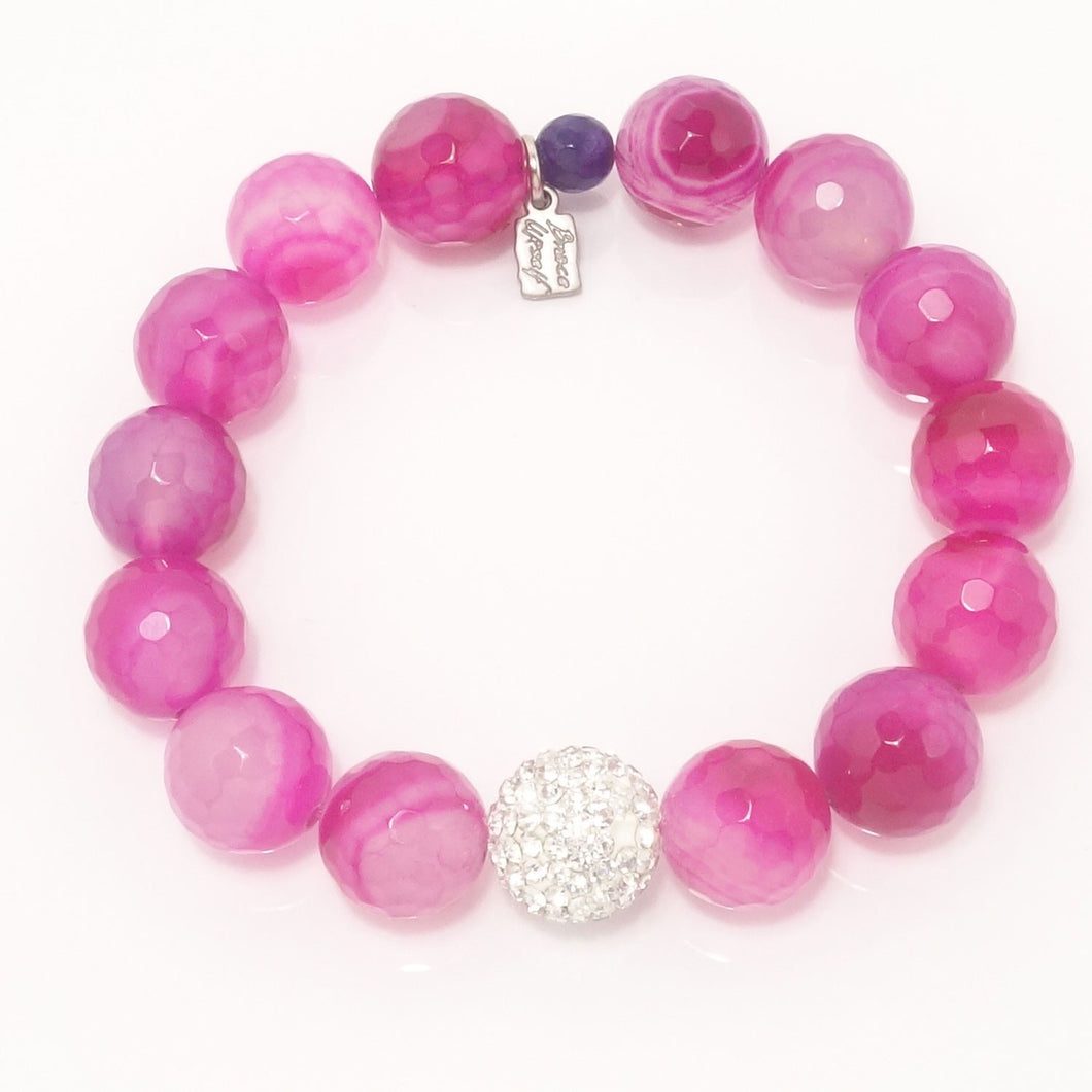 Hot Pink Agate/Silver