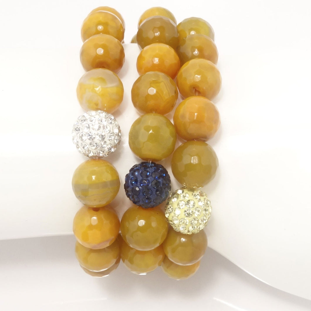Mustard Agate/Light Yellow/Navy/Silver