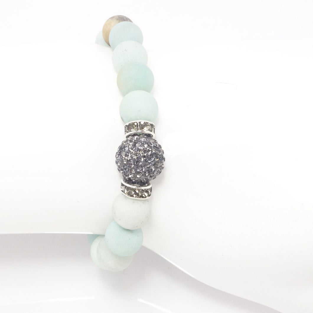 Seafoam Green Druzy/Light Grey Bracelet