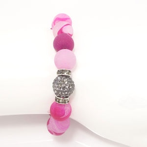 Bubble Gum Pink Druzy/Light Grey Bracelet