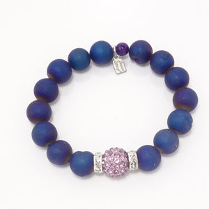 Navy Rainbow Druzy/Purple Bracelet