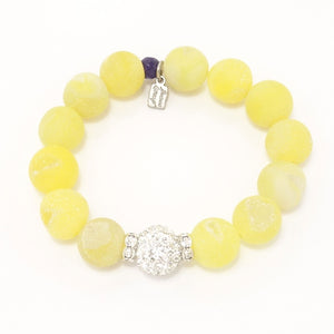 Lemon Yellow Druzy/Silver Bracelet