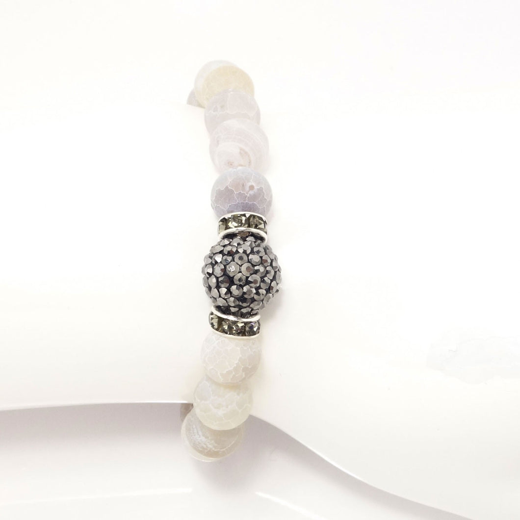 Smoky White Druzy/Dark Grey Bracelet