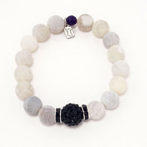 Smoky White Druzy/Black Bracelet