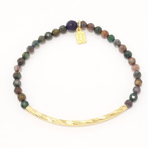 Fall Green Tone/Gold Metal Bars