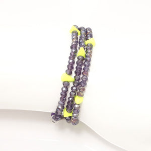 Shiny Purple Crystal Triple Wrap Bracelet
