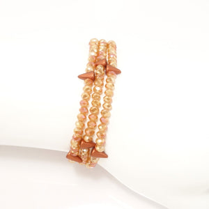 Shiny Caramel Spike Crystal Triple Wrap Bracelet