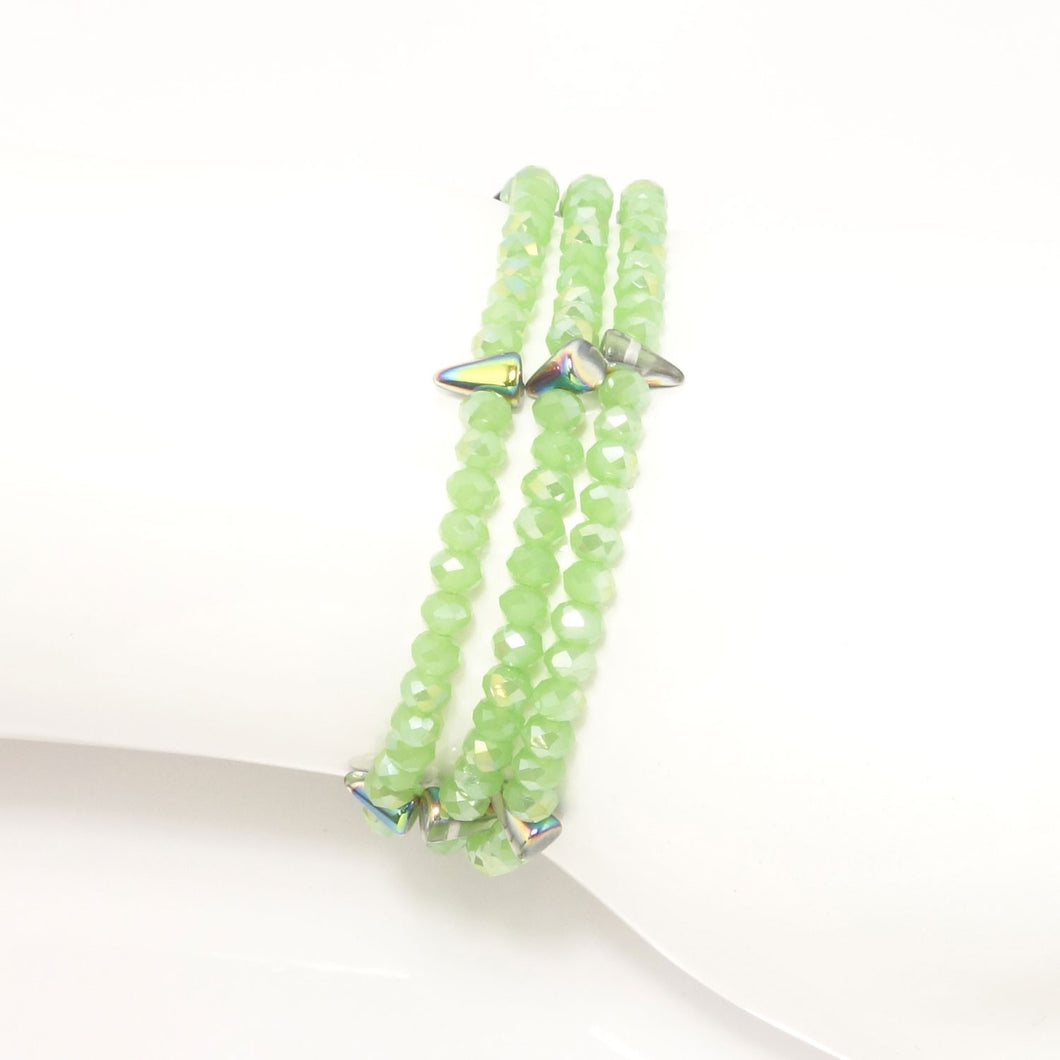 Frosted Green Spike Crystal Triple Wrap Bracelet