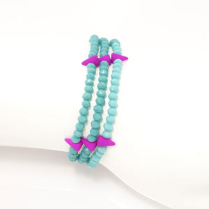 Teal Spike Crystal Triple Wrap Bracelet