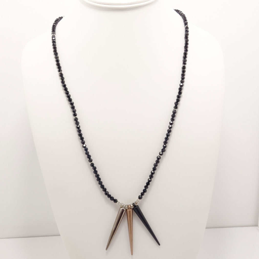 Gun Metal Copper Matte Black Spike Necklace