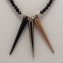 Matte Black Gun Metal Copper Spike Necklace