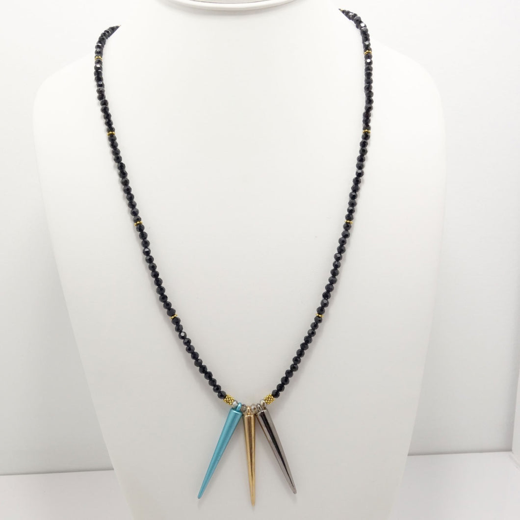 Blue Gold Gun Metal Spike Necklace