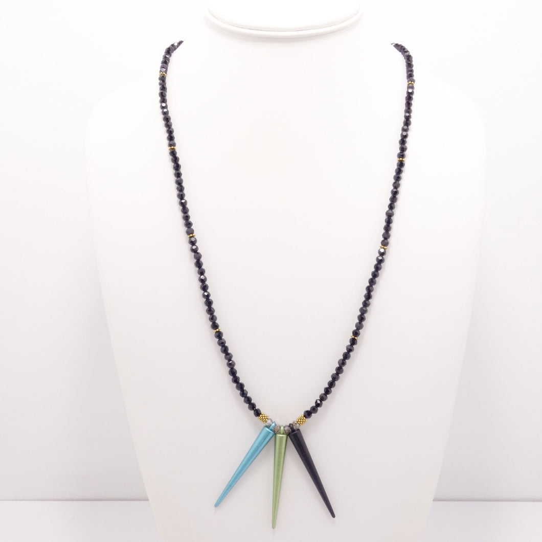 Matte Black Blue Green Spike Necklace