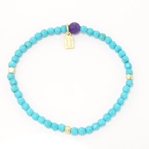 Faceted Turquoise Bead with Gold Metal Tones Single Bracelet
