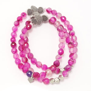 Hot Pink/Silver Hearts