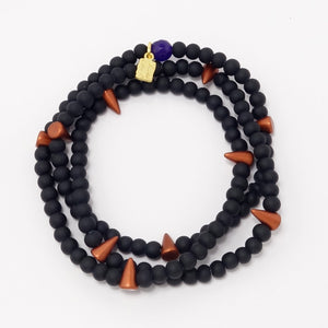 Carmel Spike Beaded Triple Wrap Bracelet