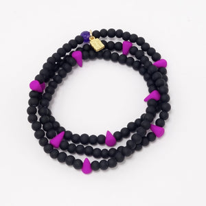 Bright Purple Spike Beaded Triple Wrap Bracelet