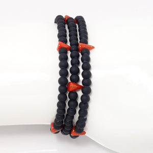 Red Spike Beaded Triple Wrap Bracelet