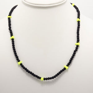 Neon Yellow Spike Beaded Triple Wrap Bracelet