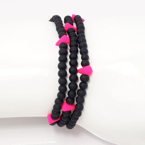 Neon Pink Spike Beaded Triple Wrap Bracelet