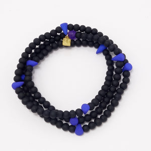 Royal Blue Spike Beaded Triple Wrap Bracelet