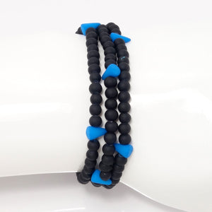 Light Blue Spike Beaded Triple Wrap Bracelet