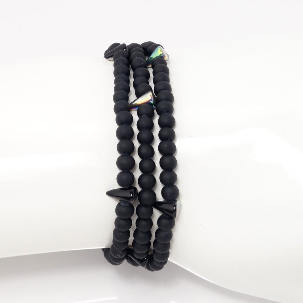 Black Spike Beaded Triple Wrap Bracelet
