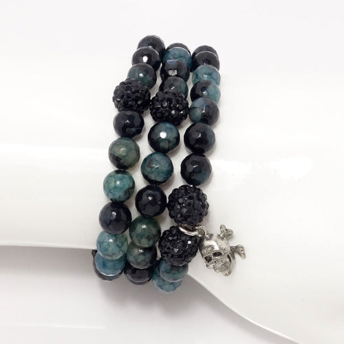 Dark Emerald Blue/Black/Silver Skull