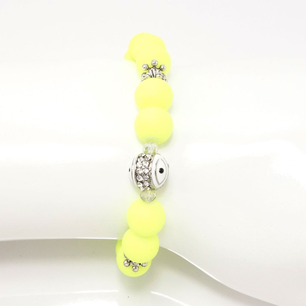 Neon Yellow/White Evil Eye