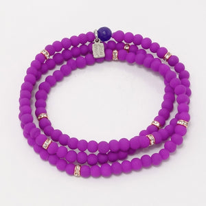 Bright Purple Rose Gold Beaded Triple Wrap Bracelet