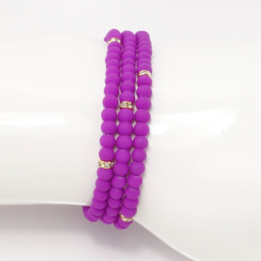 Bright Purple Gold Beaded Triple Wrap Bracelet