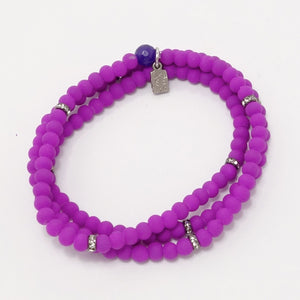 Bright Purple Black Beaded Triple Wrap Bracelet