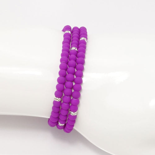 Bright Purple Silver Beaded Triple Wrap Bracelet