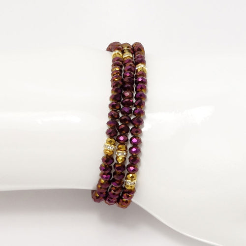 Magenta Gold Crystal Triple Wrap Bracelet