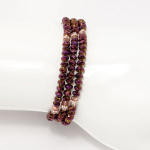 Magenta Rose Gold Crystal Triple Wrap Bracelet