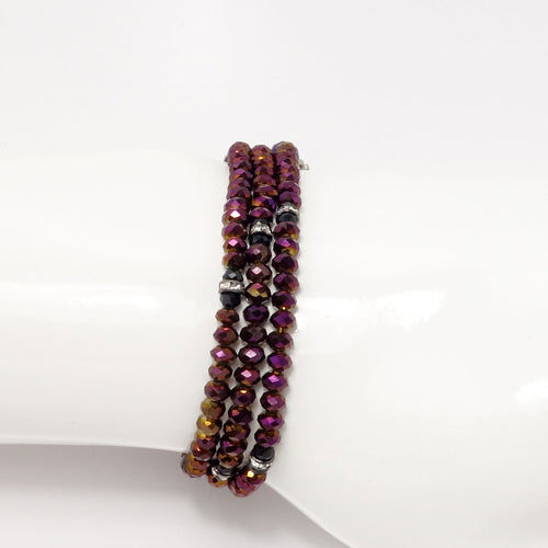 Magenta Black Crystal Tiple Wrap Bracelet