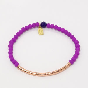 Bright Purple Rubber Glass Beads/Rose Gold