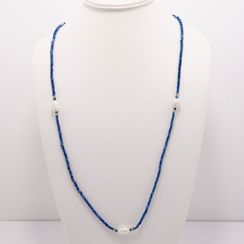 Electric Blue Pearl Necklace