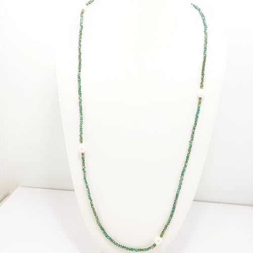 Gold Green Pearl Necklace