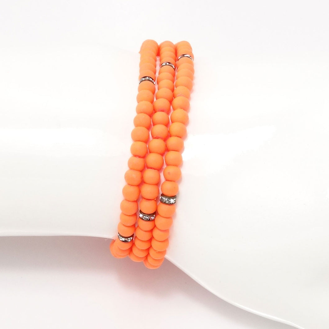 Orange Black Beaded Triple Wrap Bracelet