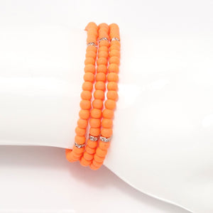 Orange Rose Gold Beaded Triple Wrap Bracelet