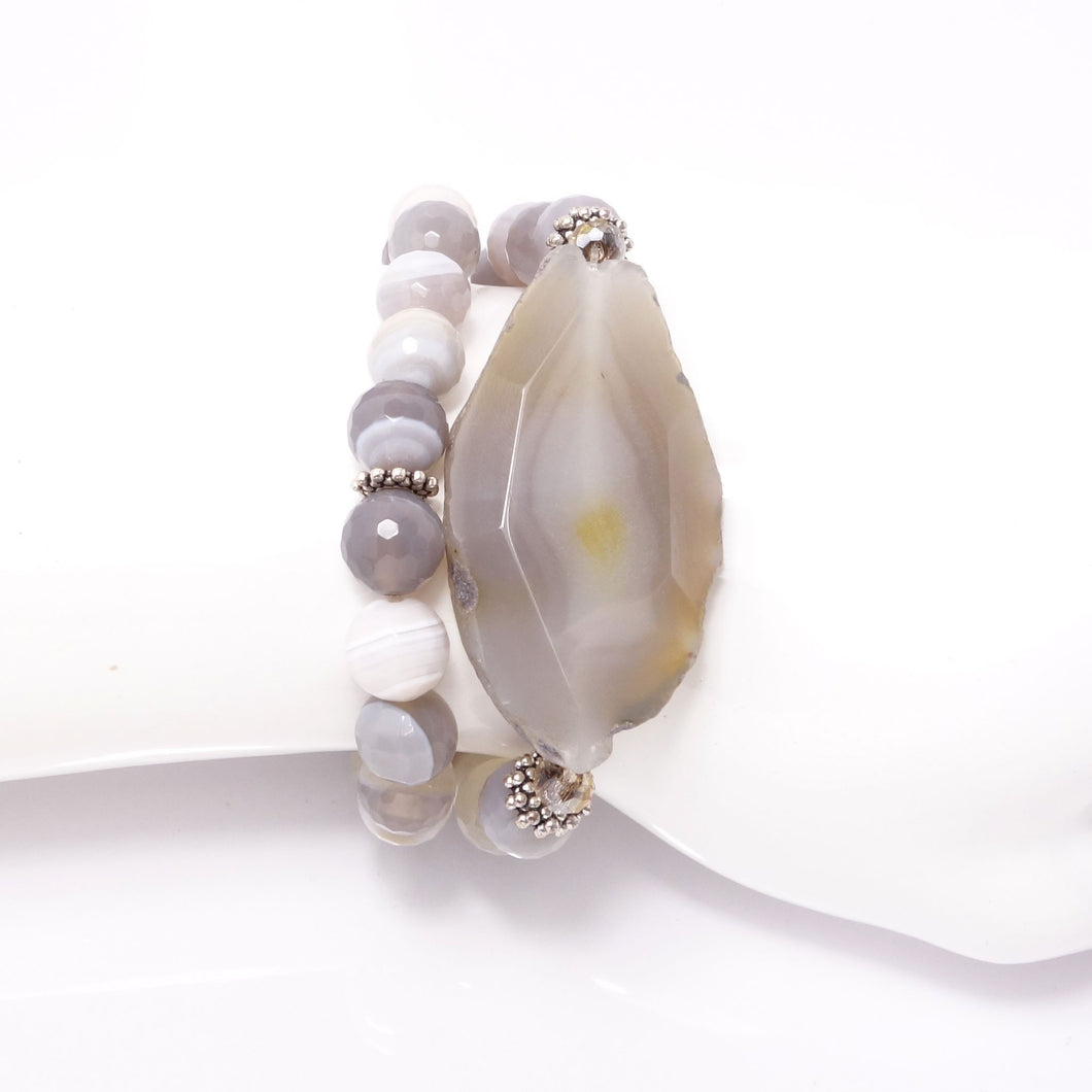 Light Grey Dual Wrap Bracelet