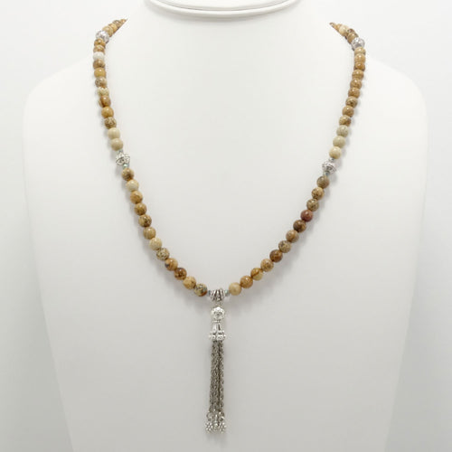 Natural Jasper Silver Tassel Beaded Necklace