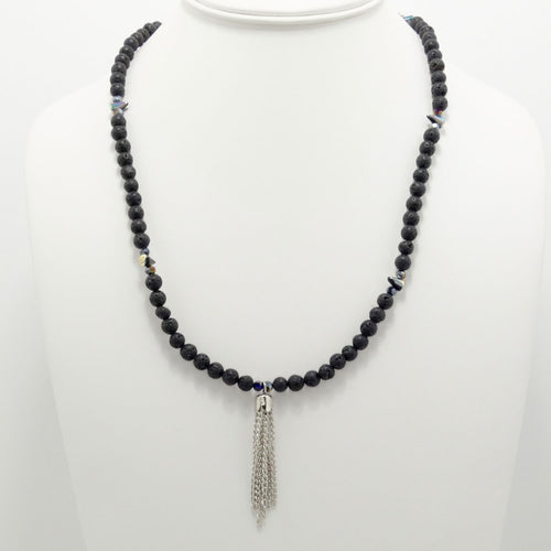 Black Lava Spike Tassel Beaded Necklace